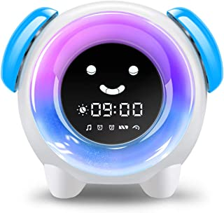 Alarm Clock for Kids, Sleep Training Clock with 7 Colors Night Light, 6 Alarm Rings, NAP Timer, Teach Children Time to Wake up, Rechargeable Battery USB Charging Clock for Boys Girls Bedroom (Blue)