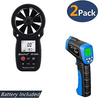 HOLDPEAK 866B Digital Anemometer Handheld Wind Speed Meter + 981C Non-Contact Infrared Thermometer Digital Laser Infrared Thermometer -58 to 1022℉ (-50 to 550℃) with Adjustable Emissivity (2Packs)