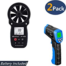 HOLDPEAK 866B Digital Anemometer Handheld Wind Speed Meter + 981C Non-Contact Infrared Thermometer Digital Laser Infrared Thermometer -58 to 1022℉ (-50 to 550℃) with Adjustable Emissivity (2Packs)