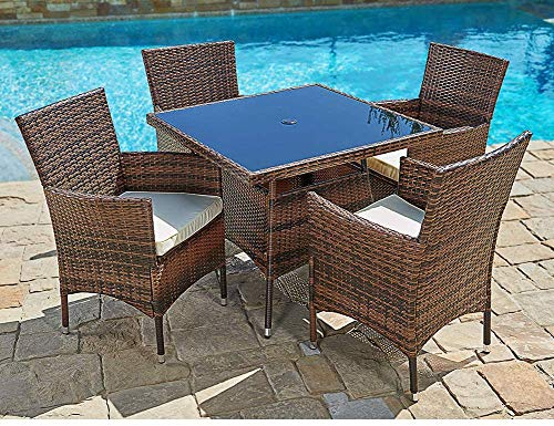 Oakmont 5-Piece Patio Furniture Outdoor Wicker Dining Chairs Set, Washable Cushions, Square Tempered Glass Top Table with Umbrella Hole Brown