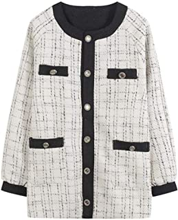 YXHM A Ladies Knit Fashionable Plaid Cardigan Cape Tops Warm Autumn Clothing Long Length Long-Sleeved Cut Outer Coat Jacket Nittoso Loose Type Cover Large Size Autumn New (Color : White, Size : L)