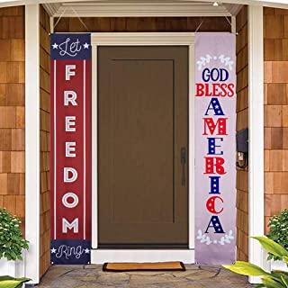 ANJIA 4th of July Decoration Porch Sign God Bless America, Fourth of July Memorial Day Independence Day Decoration Hanging Banner Flag Indoor Outdoor Party