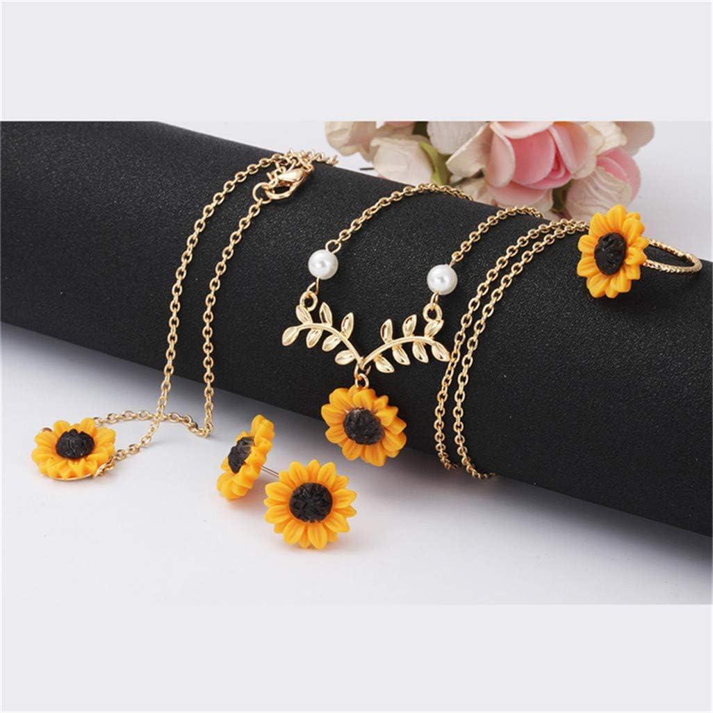 WEILYDF 4 PCS/Set Sunflower Necklace Earring Ring Bracelet Kit Handmade Creative Drop Clavicle Eardrop Wristband Jewelry Gift,Golden