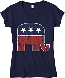 Women's Faded Republican Elephant Fitted V-Neck T-Shirt
