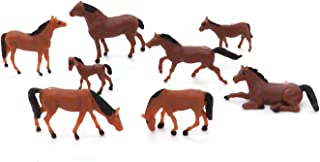CWBPING 20pcs HO Scale Painted Farm Animals 1:87 Scale Model Horses 10 Different Poses Miniature Model Train Layout Animals