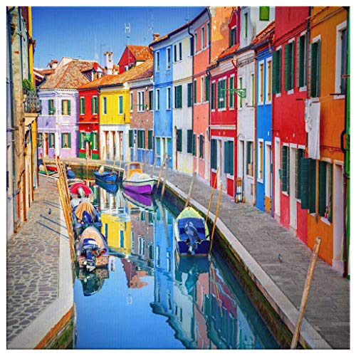P.S. I Love Italy Burano Canvas Wall Art - Italian Scenic Modern Home Décor Picture/Print for Living Room, Dining Room, Kitchen, Bedroom, Bathroom, Hallway