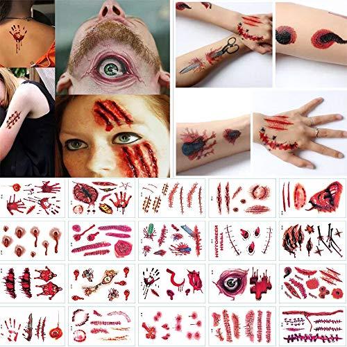 Csy 30 Hojas Disfraces de Halloween Tatuajes de Zombis, Maquillaje para Decoraciones de Fiesta de Halloween, Body Scar Stickers para Cosplay (Tatuajes de Zombis)