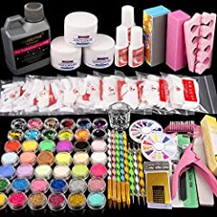 Great for any nail artist to make acrylic manicures at home or in studio/salon. 42 in 1 Acrylic Nail Kit - Included 3 basic acrylic powder, 120 mL acrylic liquid, glitter powder, rhinestones and other basic nail art decoration tools, creating beautif...