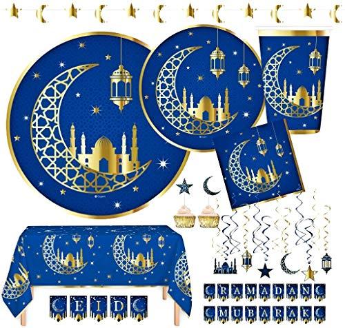 "Serves 24 | Ramadan Eid Mubarak Gold Foil Decorations | 9"" Dinner Plates | 7"" Dessert Plates | 24 Cups - 12 Ounce | Swirls | Ramadan and Eid Mubarak Banners | Appetizer / Dessert Toppers | Ideal for Ramadan or Eid Party"