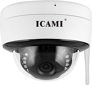 ICAMI 防犯カメラ 屋外 ワイヤレス 監視カメラ SDカード録画 留守 ネットワークカメラ 家庭用 スマホ マイク内蔵 500万画素 簡単 設置 車上荒らし 遠隔監視 防水 IPカメラ 屋内 無線