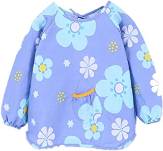 0-4 Years Old Baby Smock Cotton Waterproof Bib Baby Eating Clothes Children Anti-dressing Bib Long-sleeved Protective Clot...
