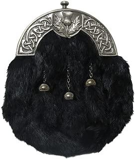 Black Deluxe Full Dress Celtic Thistle Rabbit Fur Sporran