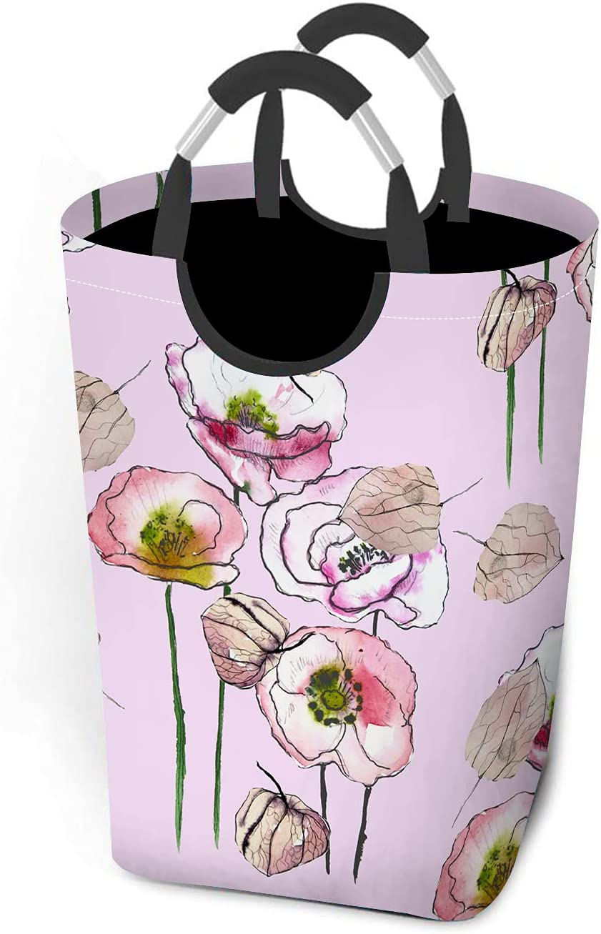 Beabes Watercolor Opium Poppy Laundry Hamper Limited price Japan's largest assortment sale Folding Washing Bin