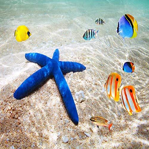 ZJfong Fotobehang 3D-zee strand zeester tropische vissen badkamer vloertegels schilderij wandschilderijen PVC vinyl waterdicht 330 x 210 cm.