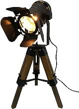 Decoluce Industrial Tripod Floor Table Lamp Vintage Wood Cinema Searchlight Standing Lighting Fixtures Nautical Spotlight Decorations-Not Include E26 Bulbs (Cinema)