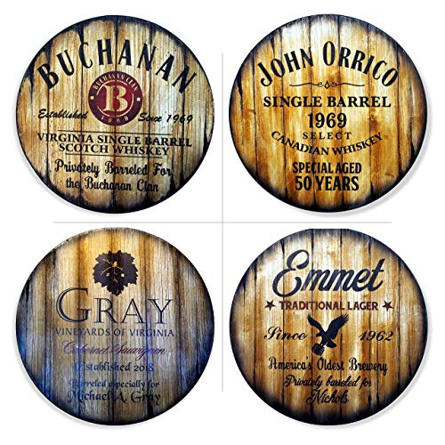 Personalized Round Table Top, Size 24/30/36/40/42 Inch, Handmade Custom Artwork on Rustic Wood, Inspired by Whiskey Beer & Wine Barrels, Living Room Bar Kitchen Patio Wood Furniture