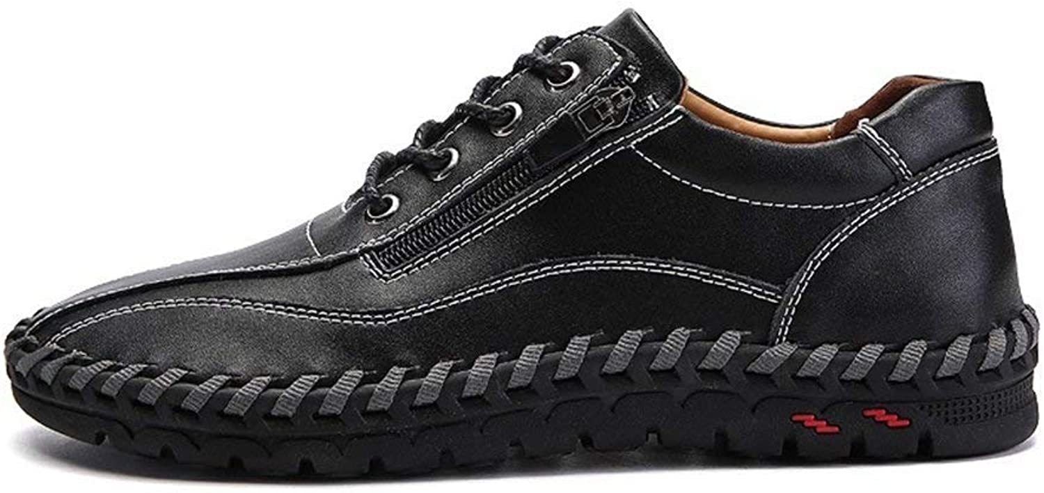 ZHRUI Casual Men shoes Walking Leather Loafers Lace up Men Sneakers (color   Black, Size   11.5=47 EU)