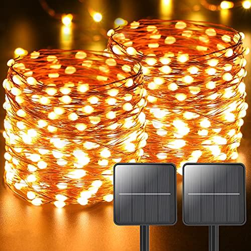 2 Pezzi Luci Solari Esterno,Litogo 220LED 26m In totale Catena Luminosa Esterno Energia Solare 8 Modalità Impermeabile Filo Rame Lucine da Esterno Decorative Per Giardino Natale Patio Matrimonio Festa