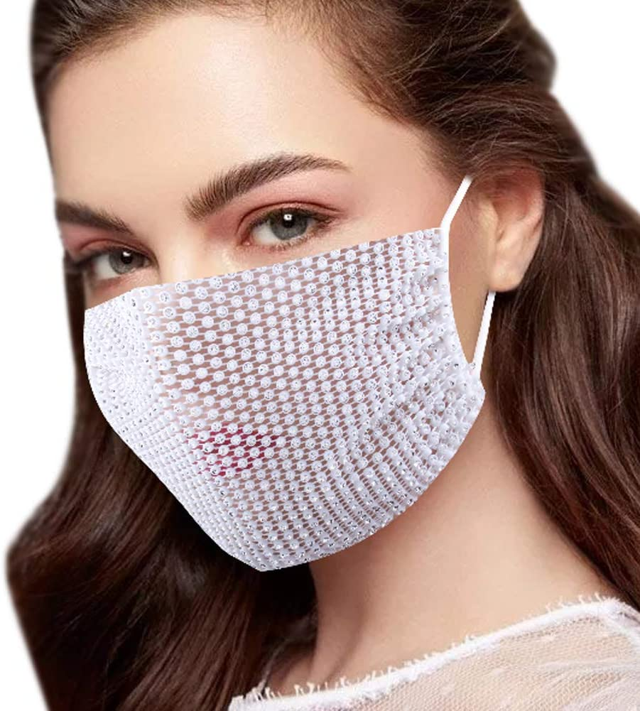Colle Bling Mesh Cheap bargain Face Mask Masquerade Max 43% OFF Rhinestione Breath Crystal