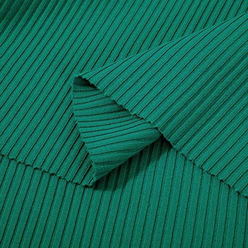 Puur katoenen effen stof, legging met pitkoord met schroefdraad, geribd katoen-Lake Green