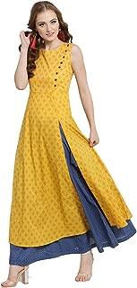 Yellow Long A-line Kurta With Blue Skirt