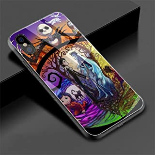 Tim Burton's Corpse Bride Tempered Glass Phone Case Cover for iPhone Xs Max XR X 8 7 6 6S Plus (G6,for iPhone Xs Max)