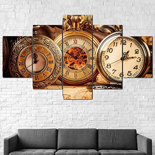 WUHUAGUO Painting 5 Piezas Cuadro sobre Lienzo Reloj De Bolsillo Antiguo Vintage Impresión Pinturas Murales Decor Dibujo con Marco Fotografía para Oficina Aniversario 150X80Cm