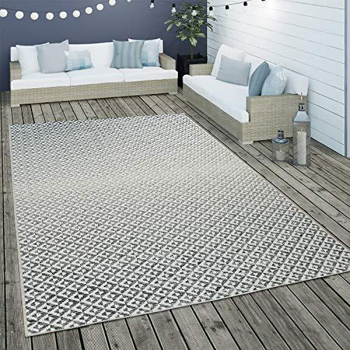Paco Home Tapis Intérieur & Extérieur Tissage À Plat Géométrique Scandinave Design Losanges en Gris, Dimension:160x230 cm
