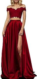 Two Piece Prom Dresses Long Off Shoulder Lace Satin Slit Formal Dress