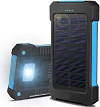AVGDeals Fast Charging Waterproof Solar Charger Power Bank 500000mAh 2 USB Battery Pack | Compact, Portable and Stylish Design (Blue)
