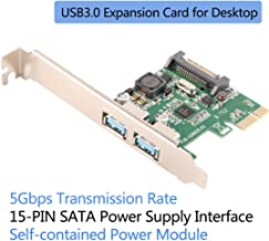 Ubit Superspeed 2 Ports PCI-E to USB 3.0 Expansion Card, U3N02S 2-Port PCI Express Card with 15 Pin SATA Power Connector,Super Fast 5G Mbps PCI Express (PCIe) Expansion Card for Desktop PC