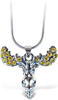Puzzled Silver Moose Head Necklace, 18 Inch Fashionable & Elegant Silver Chain Jewelry with Rhinestone Studded Pendant For Casual Formal Attire Wildlife Themed Girls Teens Women Fashion Neck Accessory