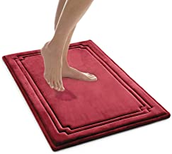 MICRODRY SoftLux Charcoal Infused Memory Foam Framed Bath Mat with GripTex Skid Resistant Base - 21x34 Wine