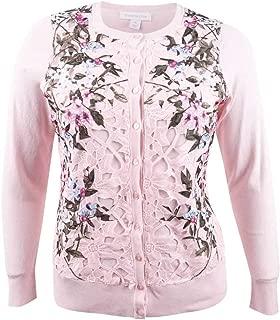 Charter Club Women's Plus Size Floral-Print Lace Cardigan
