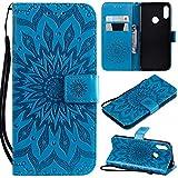 KKEIKO Hülle für Huawei Honor 8A / Huawei Y6 2019, PU Leder Brieftasche Schutzhülle Klapphülle, Sun Blumen Design Stoßfest Handyhülle für Huawei Honor 8A / Huawei Y6 2019 - Blau