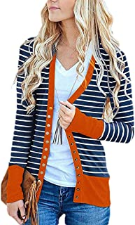 RkYAO Womens Long-Sleeve Button Coat Jacket Strip Trim-Fit Stylish Cardigan