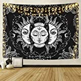 ARFBEAR Sun and Moon Tapestry, Burning Sun with Stars Psychedelic Popular Mystic Wall Hanging Tapestry Black and White Beach Blanket (Large-79 x 59 in)