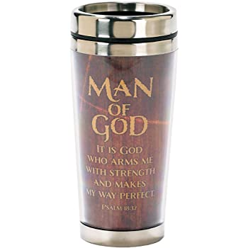 Stainless Steel Insulated Travel Mug with Lid Man Of God Arms with Strength Psalm 18:32 16 Oz