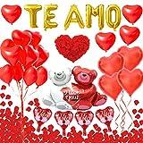 Kit de decoraciones del día San Valentín - TE AMO Banner, 1000 Pétalos Rosa Roja Seda, 28 Globos Corazón Rojo, Globo de lámina oso gigante para Bodas, Nupcial Aniversario, Compromiso, Día La Madre