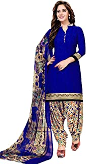 TryMode Women's French Crepe Salwar Suit Material with Dupatta (TYM_1155_D_Blue_Free Size)