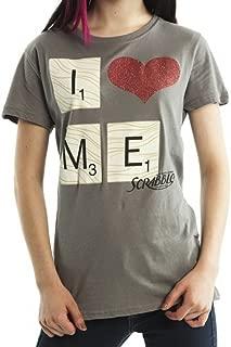 Scrabble Glitter Heart Juniors Charcoal T-Shirt X-Large
