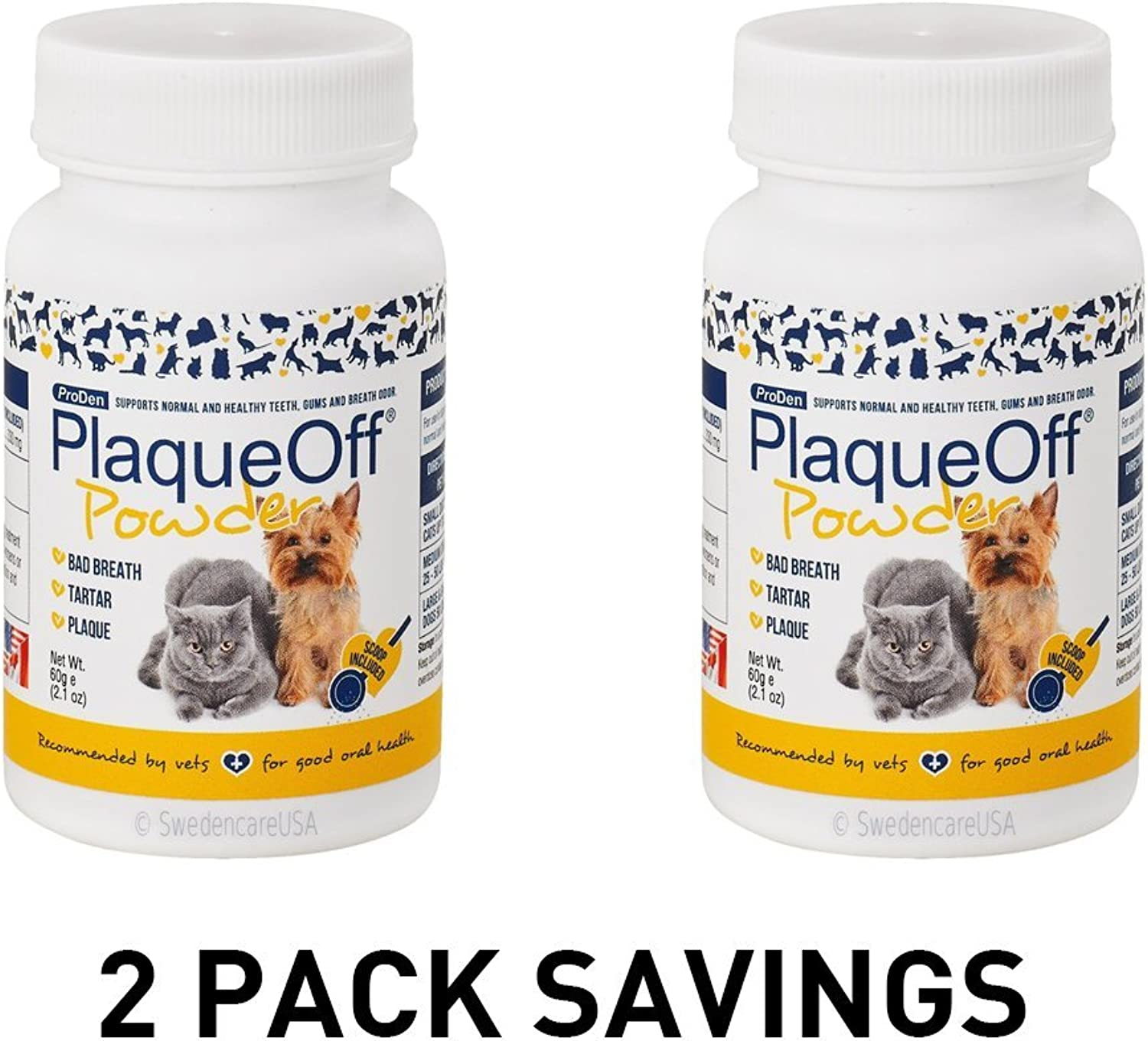 2PACK ProDen PlaqueOff Animal  All Natural Solution against Tartar & Plaque 2 x 60 gr
