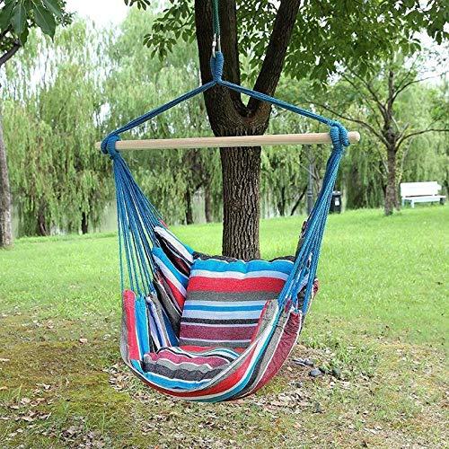 RTOFE Silla de jardín Cuelgue balanceo Cubierta Muebles de jardín Hamaca Silla Colgante Cuerda Columpio Asiento con Almohadas Hamaca no Palillo (Color : Blue B)