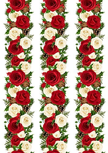 Top That Edible Decor Sheet Christmas Red Rose Garland Border Ribbon - Perfect for Decorating Larger Cakes- Easy to Use