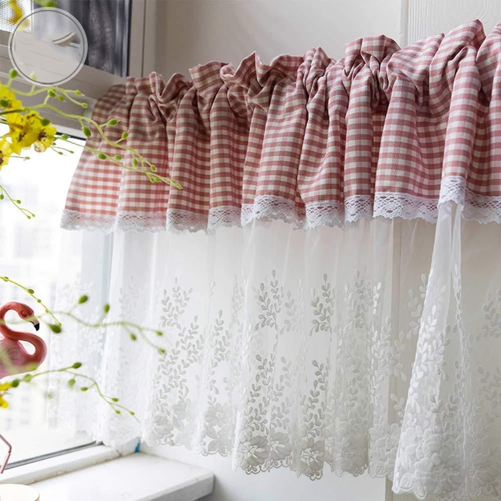 Cortina corta GJXY, visillo de gasa de algodón natural con bordado de flores, estilo rústico europeo: Amazon.es: Hogar