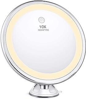 BESTOPE 10倍拡大鏡 【最新モデル】 3色調光 LED化粧鏡 浴室鏡 卓上鏡 曇らないミラー 吸盤ロック付きLEDミラー 壁掛けメイクミラー 360度回転スタンドミラー 単四電池給電