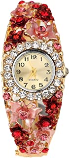 Bluelans® Women Ladies Elegant Crystal Flower Decor Bangle Bracelet Watch Dress Wristwatch (Purple)