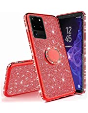 Mylne Bling Case for Samsung Galaxy S20 Ultra,Shiny Sparkle Electroplated Diamond Frame Glitter Skin 360 Degree Ring Stand Silicone Bumper Protective Case Cover