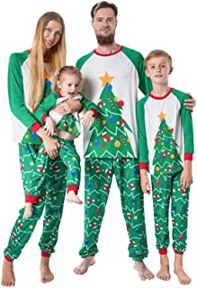 Matching Family Pajamas Christmas Tree Sleepwear Cotton Kids PJs Pants Set