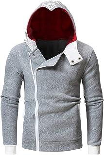 Men's Printed Sweatshirt, Long Sleeve Side Zipper Pocket Hoodie Warm Hooded Top Blouse Outwear Coat
